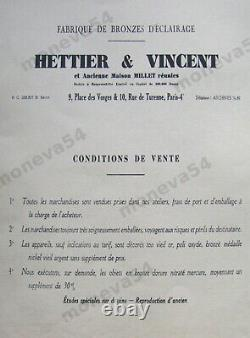Hettier - Vincent Lampe Art Deco Catalogued Bronze Nickelé And Tulip Muller Fr