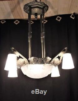 Important Chandelier Muller Brothers Lunéville Nickel-plated Bronze And Art Deco Glass