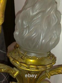 Imposing Lustre Former In Bronze, 19th, 4 Lamps. No Daum, No Muller
