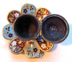 Ink Art Deco, Flower Shape With 8 Petals, Blue And Garnet Partitioned, Marked 875