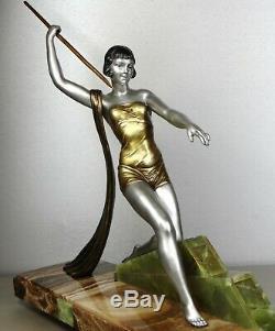 J 1920/1930 Dauvergne Rare Large Statue Sculpture Art Deco Ep Diane Huntress