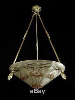 J. Gauthier Bronze Art Deco Pendant & Enameled Glass Bowl J. Robert