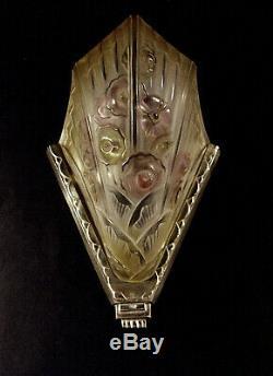J. Gauthier Dappliques Pair Art Deco Glass Pressed Enamel Silver & Bronze