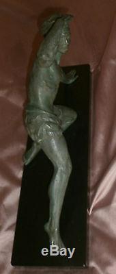 Jean De Roncourt Sculpture Art Deco Watcher Athlete Regulates Bronze Patina