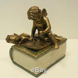 Jewelry Box Tobacco Angel Bebe Style Art Deco Art Nouveau Porcelain Bronze