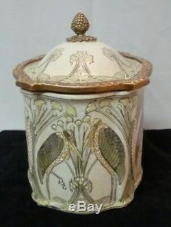 Jewelry Box Tobacco Marabou Bird Style Art Deco Art Nouveau Ceramic
