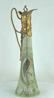 Jug Jug Bird Marabout Art Deco Style Porcelain Bronze