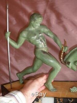 Kovas (salvator Riolo) Sculpture Art Deco Hunt Regulates Bronze Patina