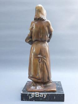 L. A. Carvin 1875-1951 Woman In Basket Bronze Scuplture Statuette Art Deco 1900