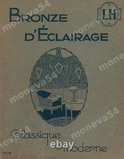 L. Hugue Et Degué Plafonnier Art Deco Bronze Silver & Globe Glass Pressed 1930