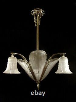 L. Vandamme - Ejg Lustre Art Deco In Bronze Nickeled And Pressed Glassware 1930