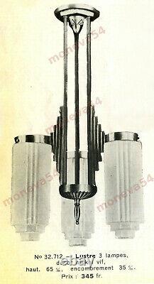 L. Vandamme Suspension Art Deco Skyscraper Bronze Nickelé & Globes Pressed Glass
