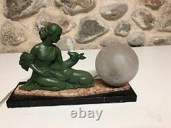 Lamp Art Deco 1930 Woman Regulated Patina Bronze On Marble Base Sign Balleste R