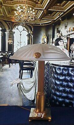 Lamp Art Deco Art Nouveau Glass Cast Bronze Or Laiton