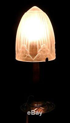 Lamp Art Deco Bronze And Wood With Shell Sonover