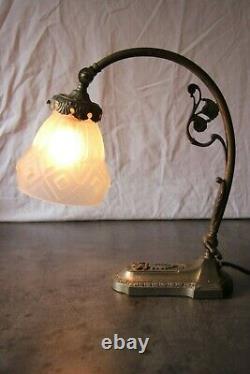 Lamp Art Deco Bronze Silver Muller Degue Schneider