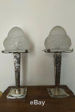 Lamp Art Deco Glass Obus 1930 Degué Foot Silvered Bronze Pair Possible Rare