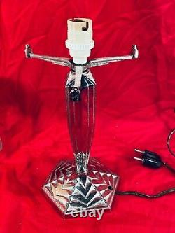 Lamp Art Deco Muller Freres Luneville Bronze Silver