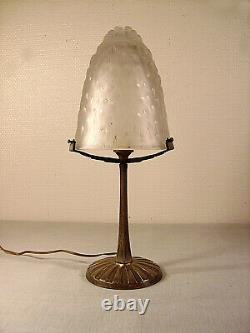 Lamp Art Deco Nickel Plated Brass And Shell Molded Glass Signed Muller Frères 1925