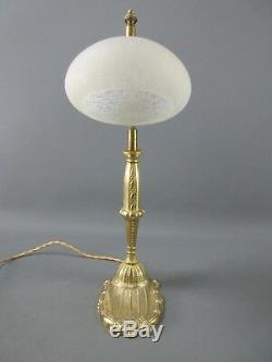 Lamp Empty Pocket Bronze Art Deco Tulip Pte De Verre Schneider H 38 CM