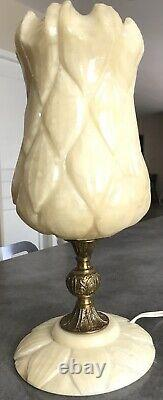 Lampe Ancient Tulipe In Albatre Art Deco/new Bronze Foot Party 34.5 CM