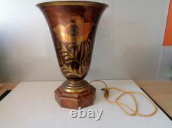Large Art Deco Salon Vasque Lamp Signed A. Ducobu Old Dinanderie