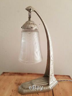 Large Bronze Lamp Art Deco Silver 1925 Signed C Ranc Glass Signed Muller Frères