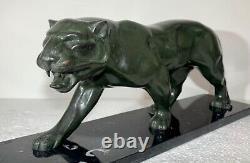 Large Bronze Sculpture Art Deco Jaguar Walking Panther Signed Statue