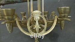Large Chandelier In Bronze And Brass Period Art Deco
