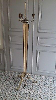 Large Floor Lamp Genet And Michon In Bronze Way Galuchat And Cristal Around 1950