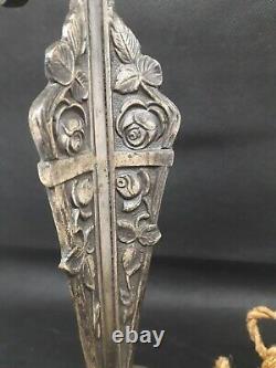 Leg Lamp Art Deco Bronze Silver Shells Muller Daum