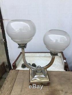 Light Pair Art Deco Chrome Bronze