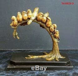 Louis Carvin Bronze Sculpture Dore 10 Birds On Branch Art Deco 1930