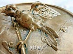 Low Relief Medal In Trendy Bronze Bird Art Deco Signed Thomas