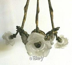Luster Art Deco Bronze Rosettes Glass Paste 4 House Fires Rings