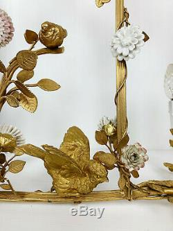Luster Art Deco Period Gilt Bronze In On Bird Decor And Porcelain Flowers