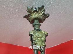 Luster Chandelier Art Deco Tulips 4 Gilt Bronze And Glass Paste Schneider
