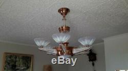 Luster Deco Petitot Ezan Art. 6 Lamps. Copper Bronze And Opaline