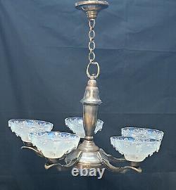 Luster Ezan France Opalescent Bronze Silver Five Sconces