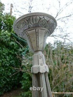 Lustre Art Deco Muller Freres Luneville Cup 4 Tulips Bronze Mount Nickelee