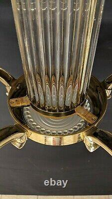 Lustre Art Deco Signed Petitot Bronze Opalescent Glass Blue Baguettes Suspension