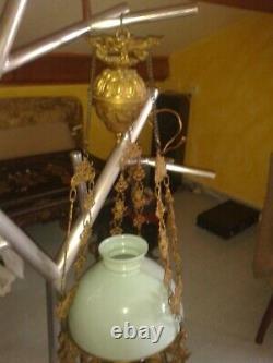 Lustre Suspension Bronze / Opaline / Barbotine Napoleon III With Counterweight