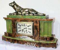 Majestuous Pendulum Marble Art Deco Panther Bronze French Clock