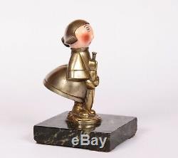 Mascot Automobile Bronze Art Deco Becassine