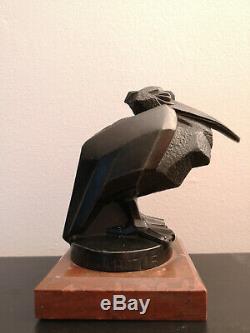 Max Le Verrier / Artus Bronze Pelican Beginning Xxth Art Deco Mascotte Auto