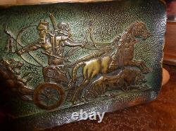 Max Le Verrier Bronze Plateau Bas Relief À Lantique Chassement Aux Lions