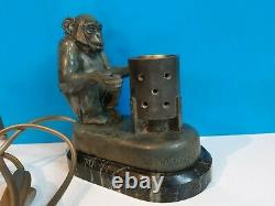 Max Le Verrier, Monkey With Monkey Brazier, Lamp On Marble Stand, Art Deco