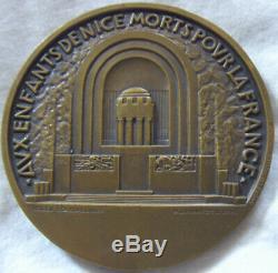 Med9209 Medal Art Deco War Memorial Nice 1928 By André Lavrillier