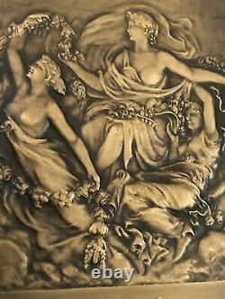 Medaille Bronze Plate Lamourdedieu Art Nouveau Art Deco Woman Nude Floreal