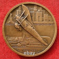 Medal Medaille Art Deco Bellonte Costes Aviation Aerien Paris New York 1930